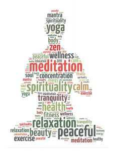 Words illustration of a person doing meditation in white background.