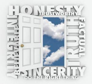 Honesty, Integrity, Believable, Trustworthy, Truth and Sincerity 3d words around a door to illustrate respectable character and good reputation