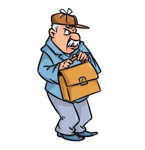 Distrust man look suspicious cartoon illustration isolated image character caricature